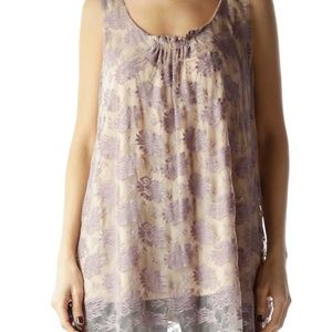 CAbi Womens Intrigue Purple Lace Tank Top Floral